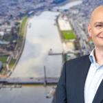 "Brückenpfeiler ""Neue Donaubrücke Linz"" vor Fertigstellung"