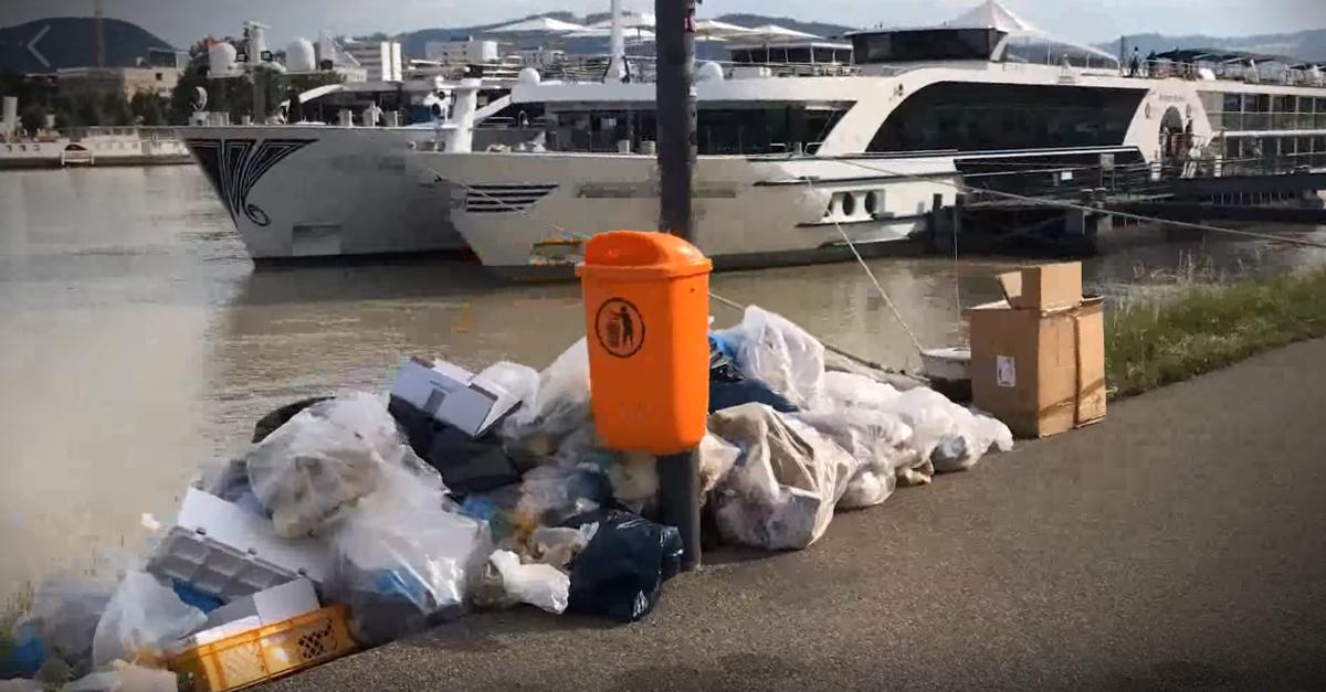 Tonnen von Müll wegen Kreuzfahrtschifffahrt in Linz.