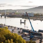 Linz: Bau der neuen Donaubrücke schreitet stetig voran